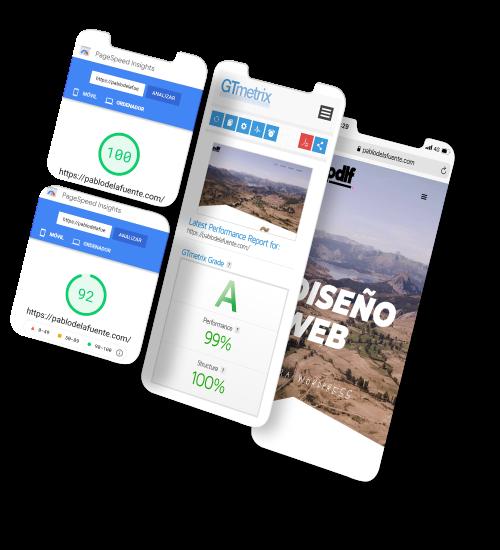 mockup de teléfono con resultados de optimización web en Google PageSpeed y GTmetrix